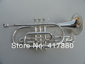 Exquisite Brass B Flat Double Trigger Cornet Bb Trumpet Silver Plated Musical Instruments With Mouthpiece Gloves Case