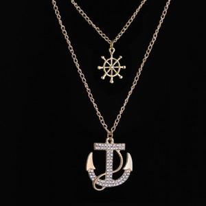 Europa e Stati Uniti Fashion Navy Full Drill Ship Anchor Collana maglione catena doppio intarsiato collana di diamanti accessori collana