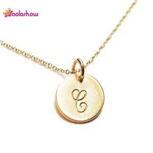 قلادة سحر القرص Intial بسيطة للسيدات رقيقة حرف Monogram سحر الذهب والفضة قلادة ، NL-2459