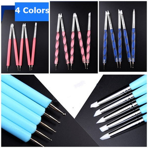 5pcs / Set 4 couleurs Double Tête Nail Dotting Pen Dotting Tools Nail Art Compléments Dotting Shading Dual End différent