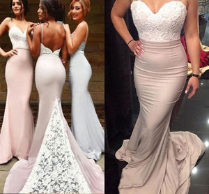 Cheap 2021 Bridesmaid Dresses Prom Gowns Sexy Spaghetti Straps Mermaid Backless Lace Prom Dresses Formal Maid of Honor Dress