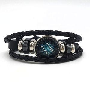 2018 12 Zodiac Sign Bracelet Women Men Genuine Braided Leather Bracelets Punk Jewely Taurus Gemini Cancer Virgo Scorpio Pisces