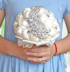2018 Flores De Casamento Da Fita De Cetim Bouquets De Noiva Ramos de novia Flores Artificiais De Cristal De Diamante Broche De Noiva Buquê De Casamento CPA1546