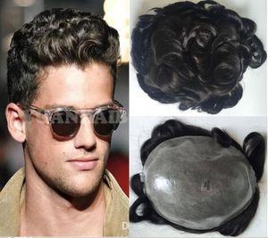 Natural Linha Dianteira Do Laço Frente Afro Onda Toupee Ondulado Completa PU homens peruca cor preta 32mm onda de substituição de cabelo para homens frete grátis