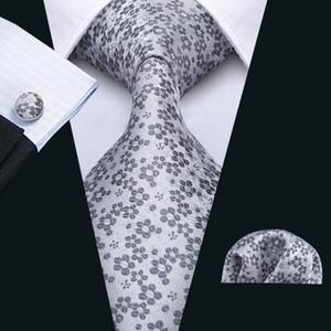 Krawatte der Männer Graue Krawatte mit weißen Blumen mit den Manschetten und Taschentuch-Hochzeits-beiläufiger Partei-Krawatte, die Versand N-5037 freigibt