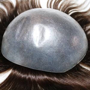 Postales para hombre Toupee Super Invisible Thin Skin Natural Black Mens Toupee Cabello Sistemas de reemplazo para el cabello perdido y calvo Envío rápido