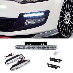 2 pcs 8 LED de Condução Diurna Luz Correndo DRL Carro Nevoeiro Lâmpada À Prova D 'Água Branco DC 12 V DRL Cabeça Nevoeiro Lâmpada Cabeça car styling