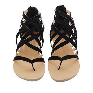 Düz Topuk Klip Ayak Oyma Roma Ayak Bileği Sandalet Çevirme Tıknaz Topuklar Plaj Ayakkabıları sandalet