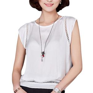 VogorSean Mulheres 2018 Verão Blusa Mulheres Moda Sem Mangas Chiffon Branco Encabeça Blusas Casual Senhora Verão Blusas Camisas Novo