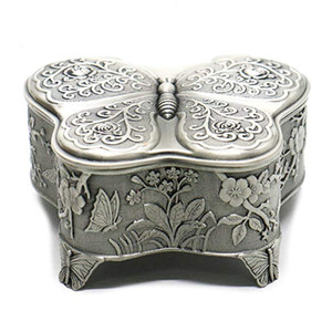 Antique Metal Rose Engraving Butterfly Jewelry Box Trinket Jewelry Storage Keepsake Box for Women, Silver