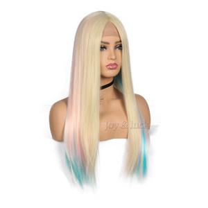 Mode Hot Lange Gerade Perücken Lace Front Perücken für Frauen Blonde Mixed Regenbogen Farbe Perücke Hochtemperaturfaser Cospaly Perücken