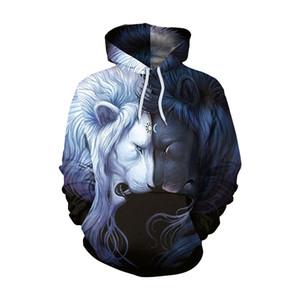 Nouveau Style Jour Nuit Lion 3D Sweatshrits Hommes Femmes Imprimé Hoodies Vente Chaude Qualité Mode Nouveauté Pull Casual Survêtement