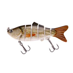 Fishing Lures 6 Segment Lifelike 3D Eyes Swimbait Fishing Hard Bait Lure Crankbait With 2 Hooks Artificial Bait Pesca 5 Colors