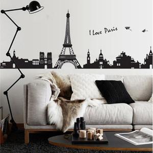 [Fundecor] diy home decor Torre Eiffel adesivos de parede sala de estar quarto decoração da parede mural decalques torre eiffel