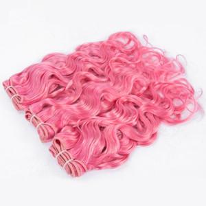 Paquetes de cabello humano malasio de color puro #Rosa de agua rosa Extensiones de cabello humano Melocotón Rosa Mojado Cabello ondulado 3 piezas Tejidos Doble trama