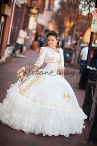 2018 Sexy дешевые белое золото бальное платье Quinceanera платья с вышивкой бисером сладкий 16 Dress зашнуровать длина пола Vestido де феста