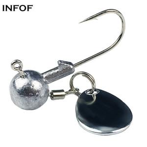 INFOF 10 unids / pack Jig Head Hooks Fishing Spin Jighead 2g 4g Jig Spins con cuchillas Gusanos Tubos Hook