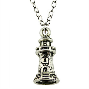 WYSIWYG 5 Pieces Metal Chain Necklaces Pendants Hand Made Necklace Men Watchtower Lighthouse 20x9mm N2-B11502