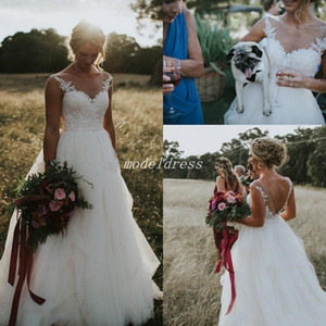 2019 Romantic Wedding Dresses Sheer Jewel Neck Backless Sweep Train Appliques Country Garden Beach Bridal Gowns robe de mariée