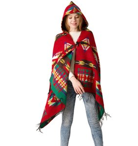 Women's Ethnic Style Geometric Pattern Hooded Cloak Long Cape Shawl Scarf Poncho