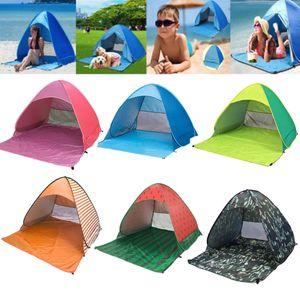 INFANT 50 + UV / UPF 팝업 해변 텐트 해변 그늘 태양 대피소 스트립 야외 자동 열기 천막