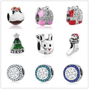 أحدث شحن مجاني MOQ20pcs الأوروبية الفضة هدية عيد snowflake شجرة جورب الرنة diy مجوهرات الخرزة صالح باندورا سحر سوار d017