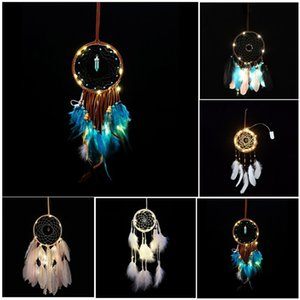 LED Light Wind Chimes Dreamcatcher con piuma Appeso a parete Car Pendant Ornament Home Decor Decorazione di nozze Regali per feste