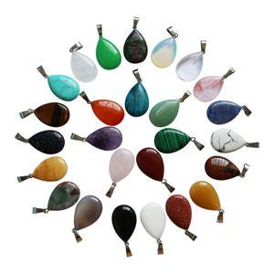 Großhandelsmode-Naturstein-Tropfen-Form-Chakra-Kristallschmucksacheanhänger für den Schmuck, der Halsketten-Damen-Geschenk geben Freies Verschiffen