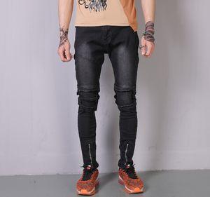 Hommes plissés Ripped jambe Zipper design Jeans Fashion Biker Slim Crayon Pantalons Hommes Streetwear Fit Washed Jeans Homme Distressed longues Pantalons Jeans
