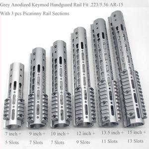 7/9/10/12 / 13.5 / 15 '' pulgadas Keymod Handguard Rail + 3 piezas Picatinny Sections System_Grey Color anodizado + Steel Barrel Nut