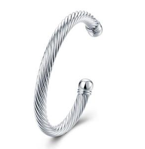 Luckyshine 6pcs regalo de vacaciones brillante antiguo puro 925 plata esterlina abierta pulseras ajustables brazaletes Rusia brazaletes