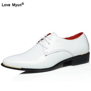 Big size china  classic male Footwear Brown black White Push dress patent leather office Large Social elegant shoe for men