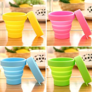 Protable Solid Color Water Silicone Cups Folding Gargle Cup For Outdoor Travel Drinkware Tools