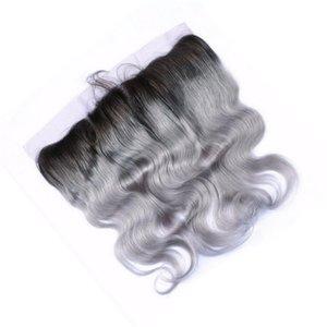 Новые приходят два тона 1b серый объемная волна человеческих волос кружева фронтальная закрытие 1 шт. перуанский девственница человека ломбер волос 13X4 полное закрытие кружева