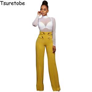 Tsuretobe Nova Moda Stretch Calças Perna Larga Mulheres Botão Elástico Palazzo Calças Longas Casuais Calças Femininas de Cintura Alta Inferior