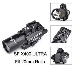 Taktik SF X400 CREE Ultra Yüksek Çıkış LED Tabanca M4 Tüfek El Feneri Kırmızı Nokta Lazer Combo Sight 20mm Picatinny Ray Dağı