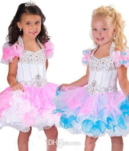 Perline di cristallo Pageant abiti senza schienale Piping Organza Cupcake Rosa Bianco Flower Girl Dresses BO6002 belle Halter una linea di Mini Glitz Girls'