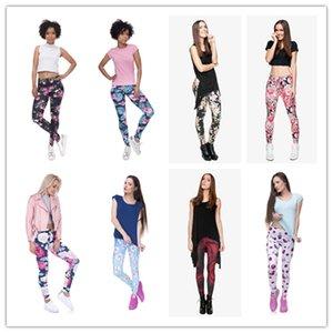 DHL ÜCRETSİZ !! 10 adet / grup Tayt Kadınlar Çiçek Meyve Baskı Yoga Çalışmak Tayt Sıkı Pantolon Tayt 8 stilleri Renkli Pantolon