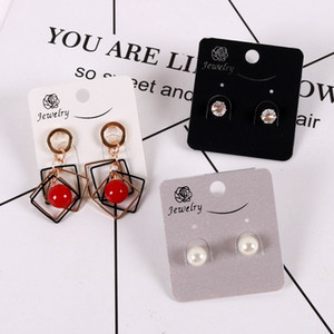 4.5x5cm DIY Printed Rose Drop Earrings Ear Studs Display Cards Hanging Tags Packing Card Can Custom Logo