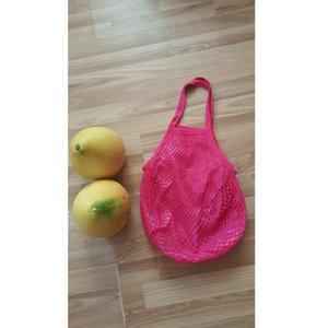 200pcs String Shopping Fruit Vegetables Grocery Bag Shopper Tote Mesh Net Woven Cotton Shoulder Bag Hand Totes Home Storage Bag lin4155