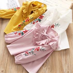 Baby Show Children's clothing wholesale han edition Bowknot is shirt of the girls Children's embroidery v-neck shirt 18106