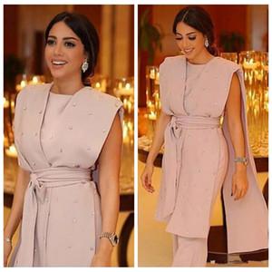 Formale rosa Abendkleider Ärmelloses Kap Perlen Sashes Overall Pearls Perlen 2021 Moderne Arabisch Dubai Formelle Anzug Party Prom Kleider