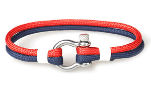 Lederarmband-Mann-modischer Sport-kampierender Schmuck PU-Leder und Fallschirmschnur Armband-Edelstahl-Wölbung für Mens-Armband-Armbänder