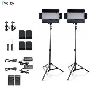 vente en gros LED caméra photographique bi-couleur studio photo éclairage professionnel kit avec batterie trépied pour le tir 1-4Sets