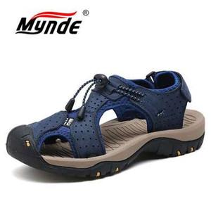 Playa MYNDE nuevo de la manera respirable del verano de los hombres sandalias de cuero genuino Zapatos de los hombres Zapatos de hombre más el tamaño 39-46 Casual