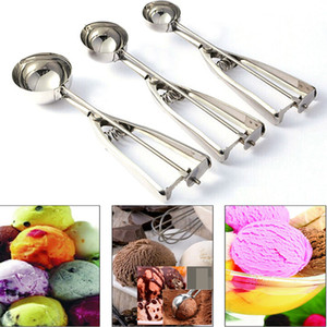 Stainless Steel Ice Cream Scoops Stacks Fruit Mash Spoon Diameter 4 5 6cm Cookies Spoon Ball Maker Kitchen Bar Dishers Tool HH7-1394
