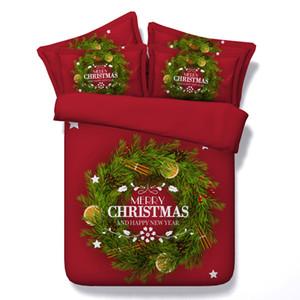 3D Merry Christmas Copripiumino letto di copriletti vacanze Quilt Covers Lenzuola federe rosso floreale regina piena re cal king size