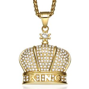 Collana con pendente King Crown Collana in acciaio inossidabile placcato oro 60 ° con pendente in cristallo intagliato