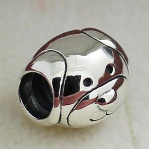 925 Sterling Silver Devoted Dog et Woof Charm Bead pour les bijoux de style européen Pandora Bracelets Colliers Pendentifs