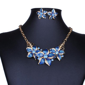 jewelry flowers jewelry sets 18k gold plated jewelry sets necklaces earrings for women hot fashion